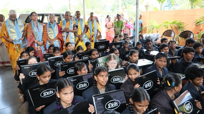 Laptops Donate to Netra Blind Students by Divis Laboratories